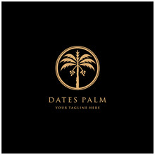 Luxury Minimalist Date Palm Gold Logo Design Template