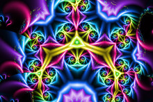 Bright, Colourful Kaleidoscopic Fractal Pattern