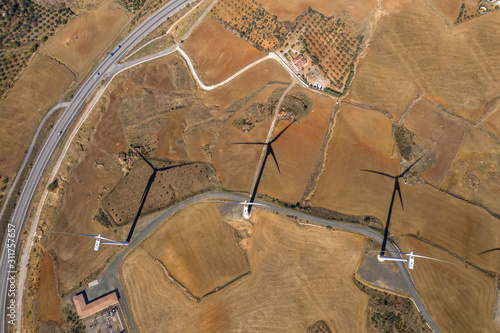 Obraz Aerial view of wind generators in Spain - fototapety do salonu