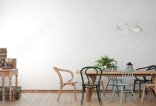 Mock up farmhouse dining room with wooden colored chairs and table Fotobehang