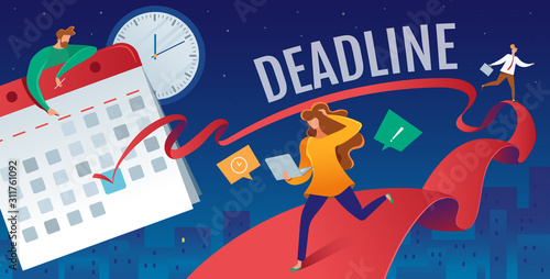 Vector flat illustration of deadline in the calendar Canvas Print