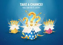 Collection Of Open Textured Gift Boxes With Question Signs, Try And Win Word. Vector Giftboxes For Gambling Or Leisure Games. Isolated 3d Objects