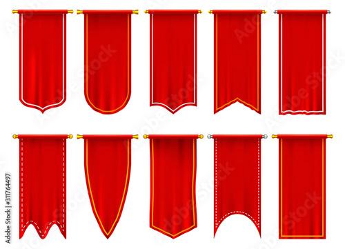 Vertical red flags or banners, 3d pennant Obraz na płótnie