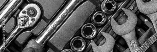 Fotografia Black and white men tools background