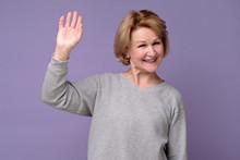 Hello Concept. Happy Old Woman...