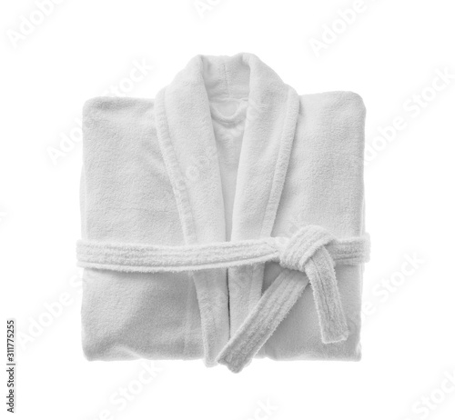 Fotografiet Clean folded bathrobe isolated on white, top view