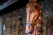 Carved Wooden Post With A Face...