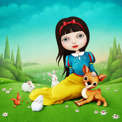 Beautiful illustration for fairy tale about Snow White, which sits on lawn with cute animals.