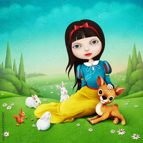 Beautiful illustration for  fairy tale about Snow White, which sits on  lawn with cute animals.  Fotomurales