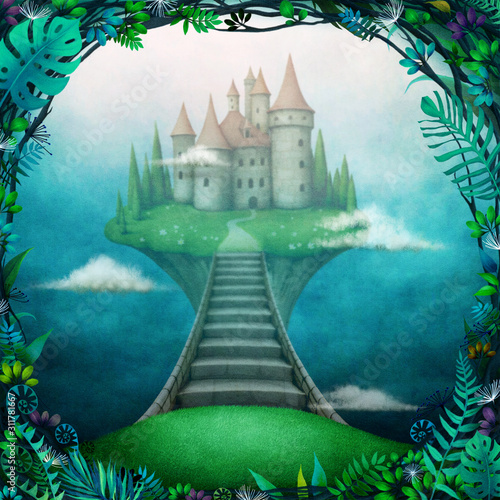 Photo Conceptual magic background with  castle in the clouds on  small island
