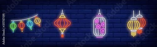 Papel de parede Eastern festive lanterns neon sign set