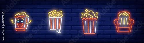 Cuadros en Lienzo  Pop corn bucket neon sign set
