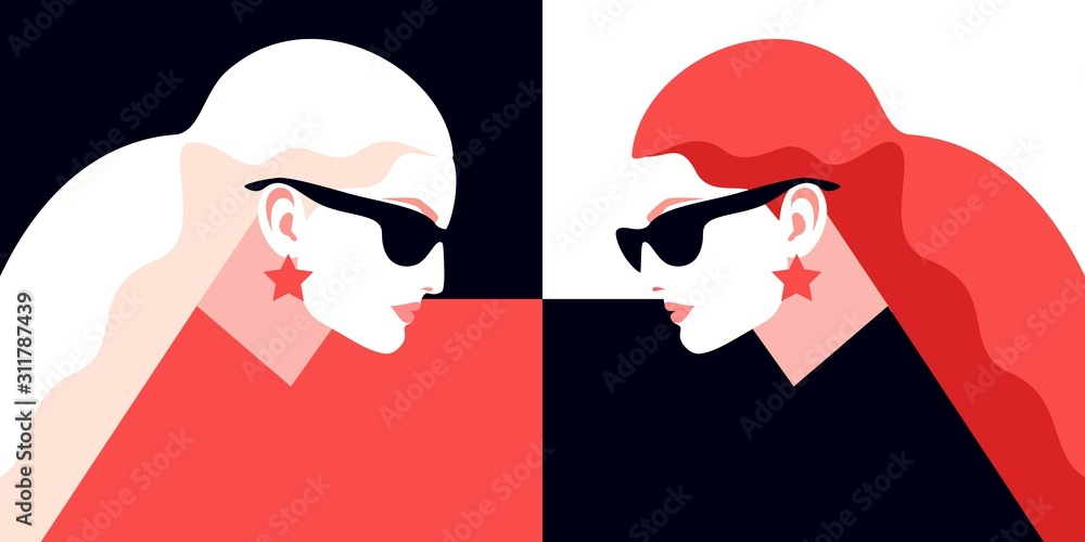 Fototapeta Two female portraits, side view. Young girls, blonde and redhead, with long hair, in sunglasses and earrings