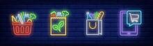 Fresh Food Market Neon Sign Set