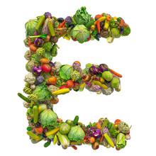 Letter E, Vegetables Font. 3D ...