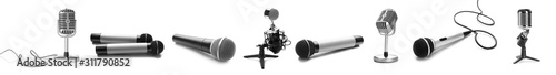 Fotomural  Different microphones on white background