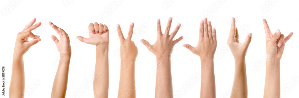 Fototapeta Gesturing children's hands on white background