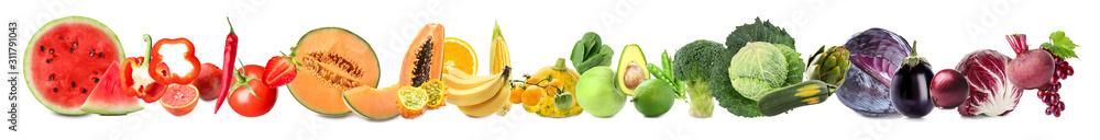 Fototapeta Assortment of fresh vegetables with fruits on white background