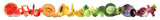 Fototapeta Rainbow - Assortment of fresh vegetables with fruits on white background