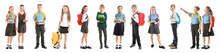 Collage With Cute Little Pupils In Different School Uniforms On White Background