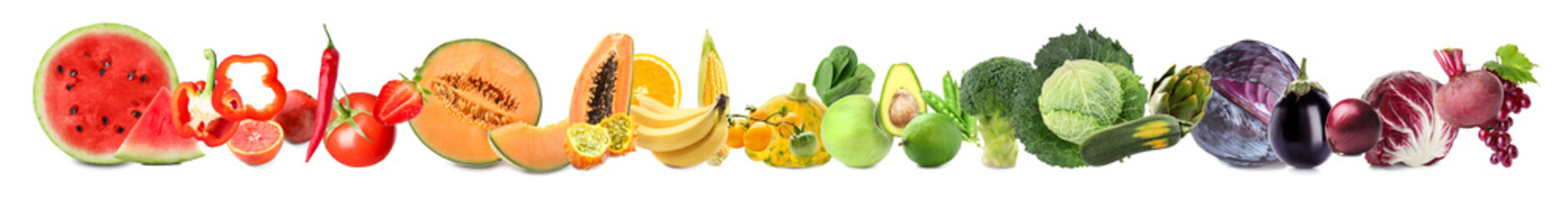 Assortment of fresh vegetables with fruits on white background