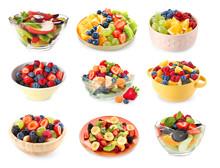 Set Of Tasty Fruit Salads On W...