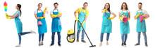 Female Janitor On White Background