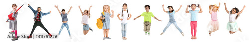 Fotomural  Cute little boy jumping on white background