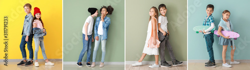 Cuadros en Lienzo Collage of photos with fashionable children near color walls