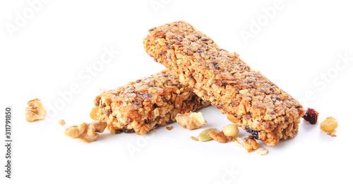 Fotografía Tasty granola bars on white background