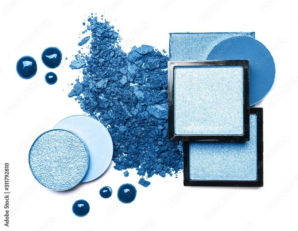 Fototapeta Set of blue eyeshadows on white background