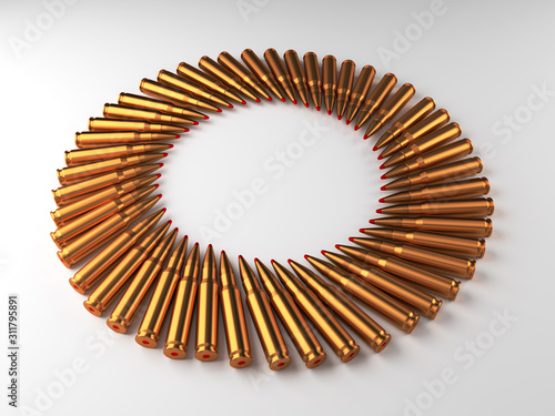 Photo 3d render illustration of shiny golden bullets cartridges laying on the white background in shape of circle