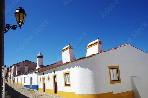 Photo traditional street of alentejo region, Portugal