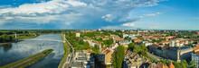 Osijek, Croatia: Wide Panorama Of City, River Drava And Pedestrian Bridge