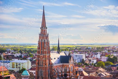 Fototapeta Osijek / Croatia: 10th May 2019: Areal view on famous cathedral in Osijek