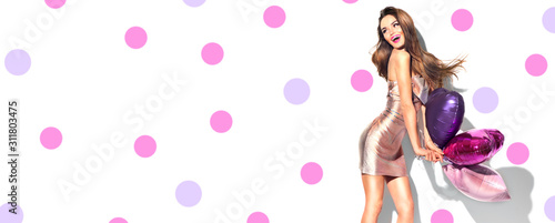Valentine Beauty girl with red and pink air balloons laughing, on pink polka dots background фототапет