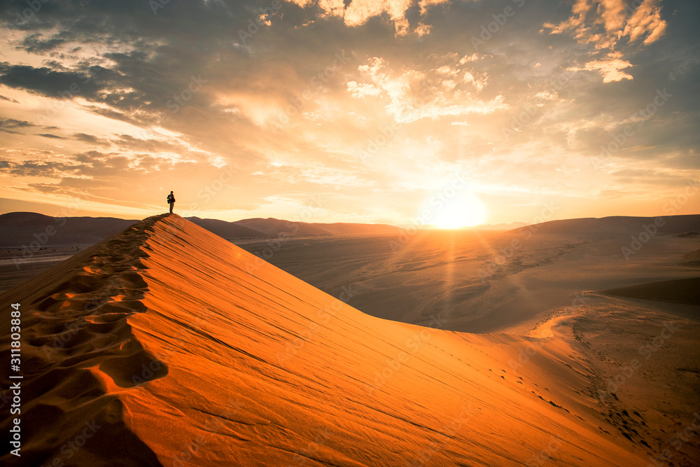 Fototapeta Dramatic sunrise in the Namibian desert