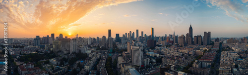 Panoramic View of Skyline of Nanjing City at Sunset - 311811434