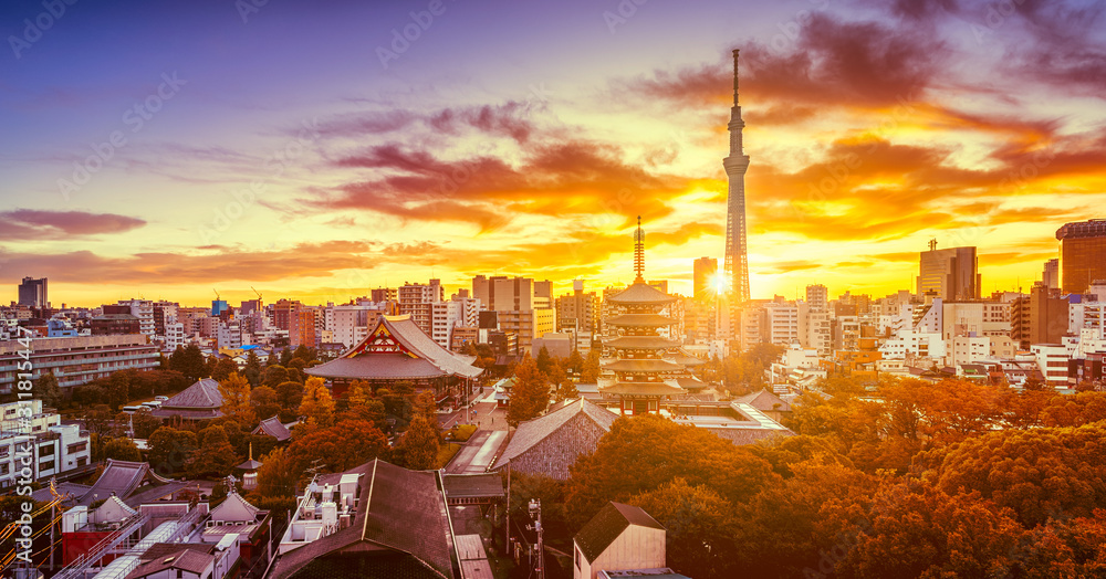 Fototapeta Dramatic sunrise of Tokyo skyline with Senso-ji Temple and Tokyo skytree in Japan