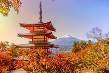 Fuji Mountain And  Traditional Chureito Pagoda Shrine From The Hilltop In Autumn, Japan