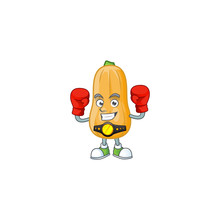 Funny Face Boxing Butternut Squash Cartoon Character Design