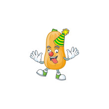 Funny Clown Butternut Squash On Cartoon Character Mascot Design