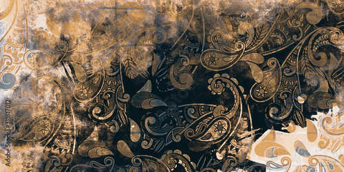 Naklejki do wnętrz  floral-grunge-decorative-background-beautiful-vintage-texture-antique-look-designs