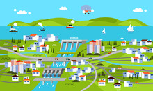 Modern Flat Design Of Landscape With Dam, Mountain, Sea, River, Building, Houses, Ship And Other