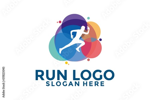 Fototapeta Colorful Running Man Logo Icon, Run Logo Template, People Run logo Design for Club Run, Marathon an other obraz