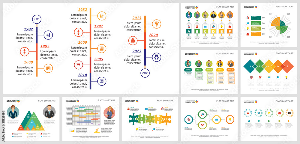 Fototapeta Collage of graphic business infographic charts