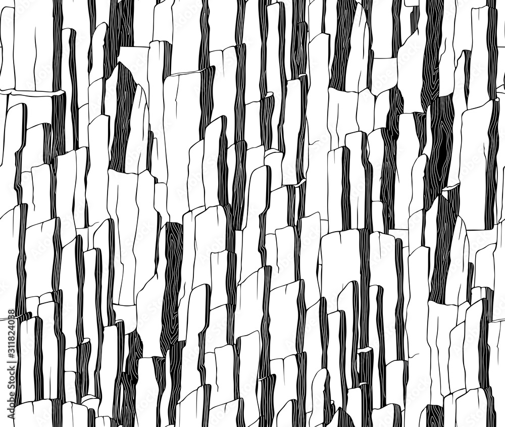 Fototapeta Seamless abstract black and white vector drawing. Mountain, landscape, pattern for a fabric, wrap and design.
