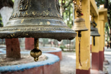 Brass Bells Hanging In A Hindu...