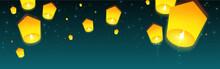 Sky Lanterns Floating In Night Sky. Cartoon Style. Horizontal Poster, Headers For Website. Vector Illustration.
