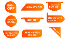 Sale Tags, Discount Labels Set Vector Badges Template, 50 Percent Off Label Symbols, Discount Promotion, New Collection Flat Icon, Clearance Sale Sticker. Save Upto 50% Off